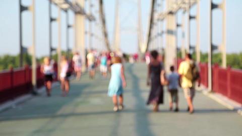 Anonymous people on the bridge Footage