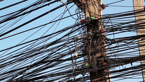 Electrical wires on electric post Footage