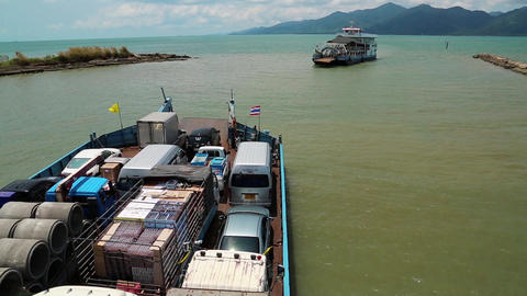 Ferry Boat Ready To Sail To The Koh-Chang Island, Gulf Of Siam, Thailand stock footage