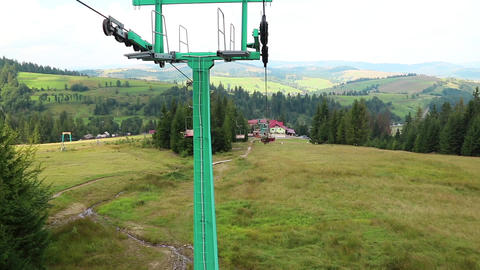 Chair Lift In Carpathian Mountains stock footage