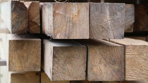 Wooden squared timbers for the building of wooden house Footage