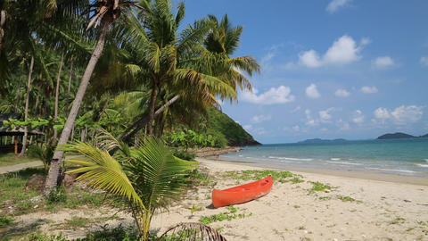 Red Canoe On The Beautiful Tropical Beach stock footage