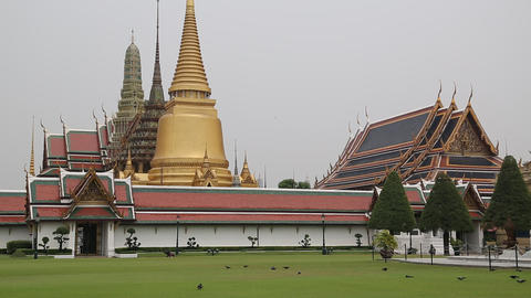 Temple of the Emerald Buddha in Bangkok, Thailand Footage