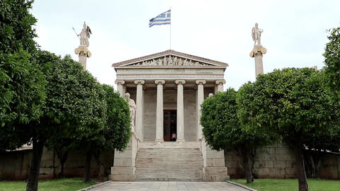 Main building of the Academy of Athens in Greece Footage