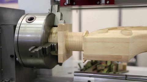 Wooden product in woodworking machine-tool Live Action