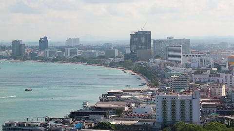 Panorama view of Pattaya city and Gulf of Siam, Thailand Footage