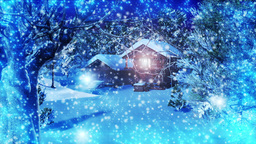 Christmas Snowy Scene 02 snowing Stock Video Footage