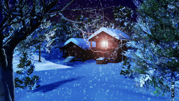 Christmas Snowy Scene dolly 01 snowing Animation