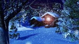 Christmas Snowy Scene dolly 01 snowing Stock Video Footage