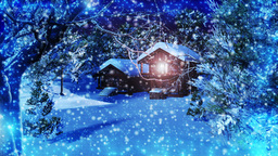 Christmas Snowy Scene dolly 03 snowing Animation