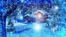 Christmas Snowy Scene dolly 03 snowing Stock Video Footage