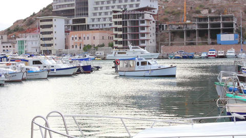 Bay with boats Stock Video Footage