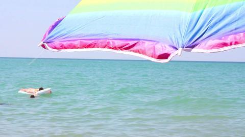 Beach umbrella Stock Video Footage