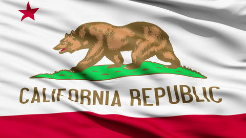 Waving Flag Of The US State Of California Animation