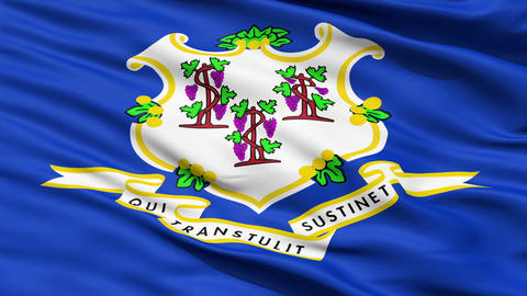 Waving Flag Of The State Of Conneticut stock footage
