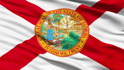 Waving Flag Of The US State of Florida Animation