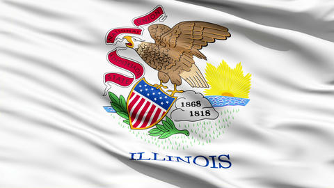 Waving Flag Of The US State of Illinois Animation