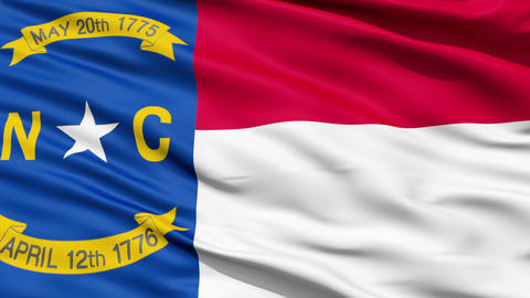 Waving Flag Of US State of North Carolina Animation