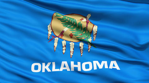 Waving Flag Of The US State of Oklahoma Stock Video Footage