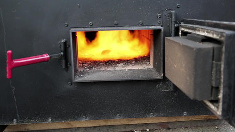 Fire burning in furnace Footage