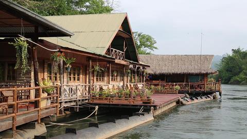 Bungalows on the Kwai river near Bangkok in northwestern Thailand Footage