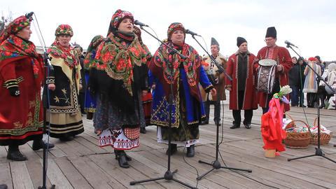 Pancake festival. Ukrainian folk song Footage