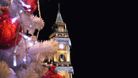 Tower with garlands on Nevsky Prospekt in St. Pete Footage