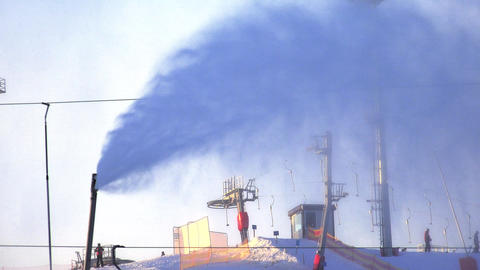 Sprayer snow. Snow blower. Snow gun. 4K Footage