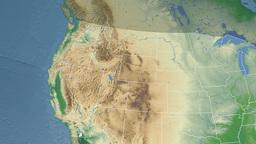 Idaho state (USA) extruded. Physical map Animation