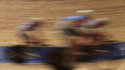 bicycle race Indoor track blurred motion Stock Video Footage