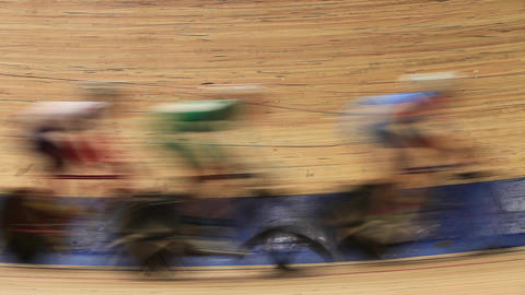 bicycle race Indoor track blurred motion Footage