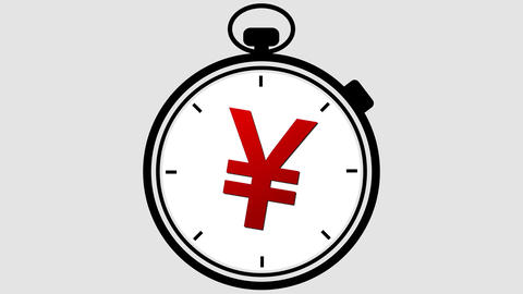 Stopwatch Japanese Yen Symbol Rotating Animation