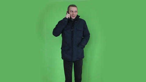 young man talking at phone winter time Footage