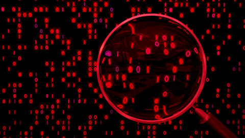 Data Under Magnifying Glass Binary Spying stock footage