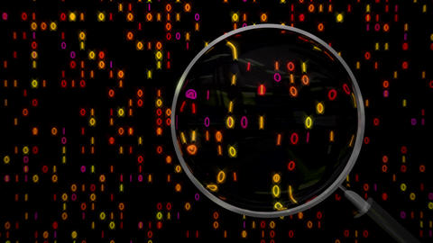 Data under magnifying glass binary spying Animation