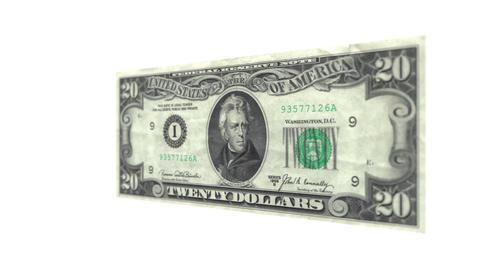 Twenty American Dollar Bill Rotating Footage