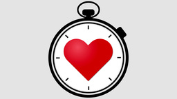 Stopwatch With Pulsing Heart stock footage