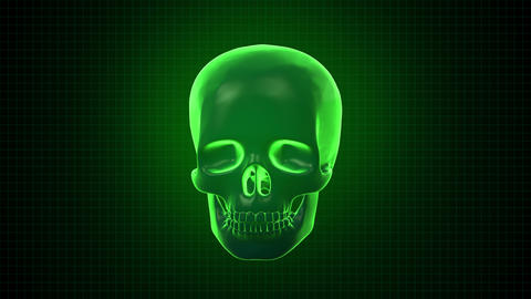 Hitech digital 3 D Animation of Human skull green Footage