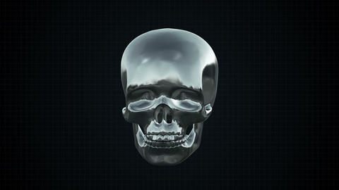 Metal Cyber Human Skull Silver stock footage