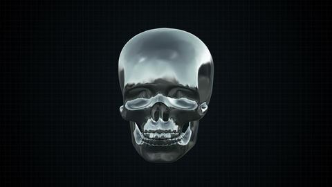 Metal Cyber Human skull Silver Footage