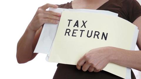 Tax Return Messy Folder stock footage