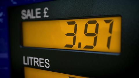 UK petrol pump display starts fueling at zero Animation