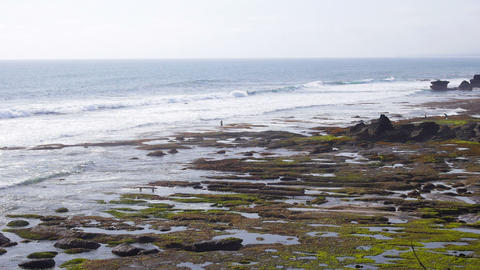 Rocky Wild Beach In Bali stock footage