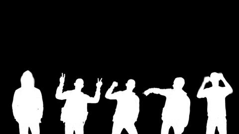 Loop Group Guys White Silhouettes Alpha Dancing stock footage