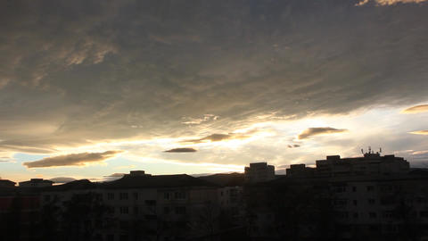 sunset clouds city silhouette time lapse ภาพวิดีโอ