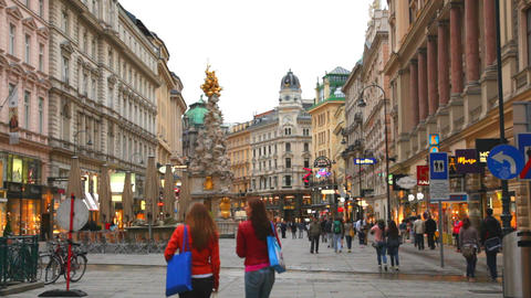 Tourists On Foot Graben Street In Vienna, Austria stock footage