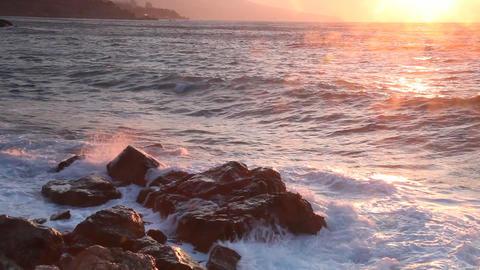 Sea Waves With Big Splashes Break About Coastal St stock footage