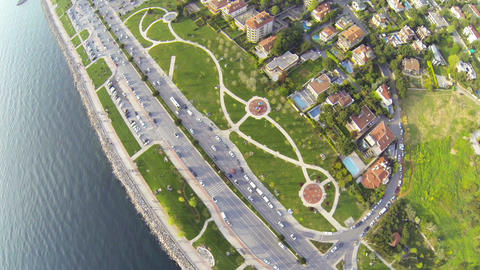 Aerial waterfront view residences in suburbs Footage