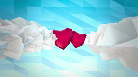 Low Poly Clouds And Hearts And Love Text stock footage