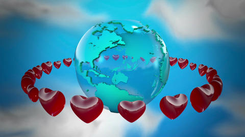 Earth With Rotating Hearts stock footage